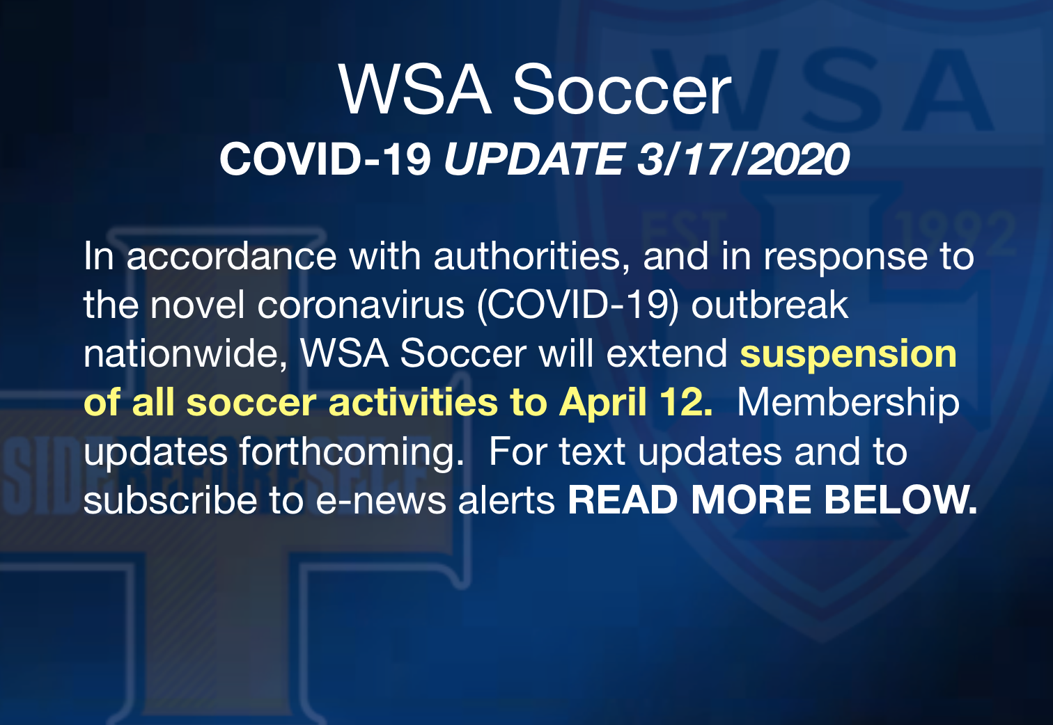 COVID-19 UPDATE - CLUB EXTENDS SUSPENSION OF PLAY THRU APRIL 30